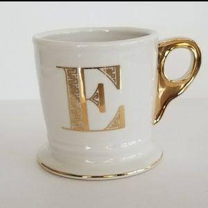 Anthropologie Monogram E Coffee Mug